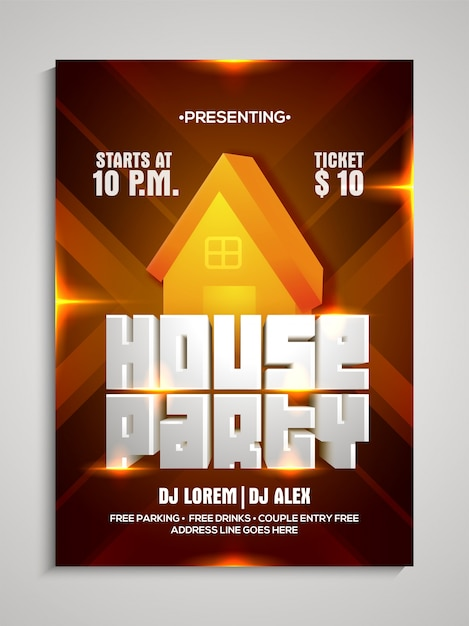 House party template, dance party flyer, night party banner Vector