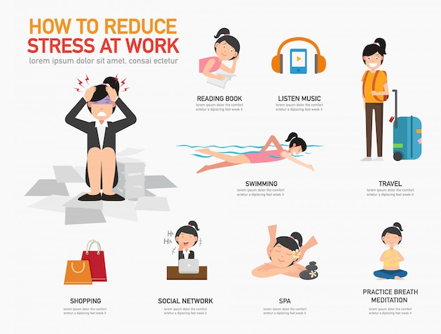 How to reduce stress at work illustration vector Vector Premium
