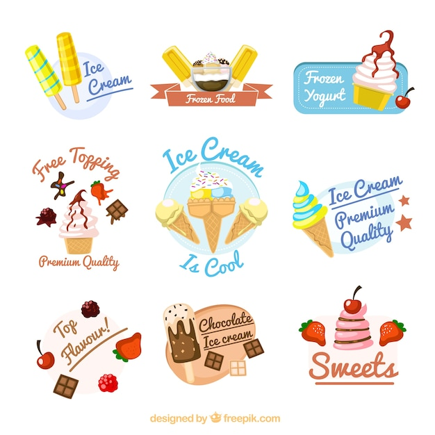 Ice cream badges Vector Free Download