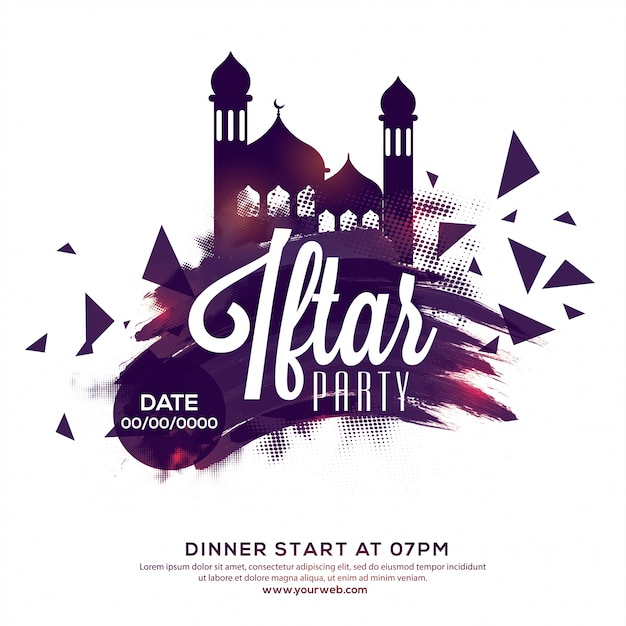 Iftar party invitation, poster, banner or flyer design, abstract