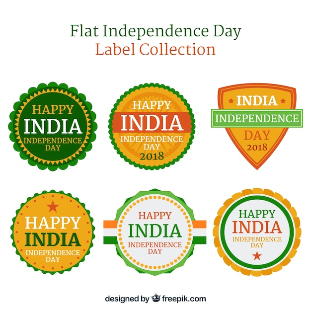 Independence day of india label collection with flat design Vector - label
