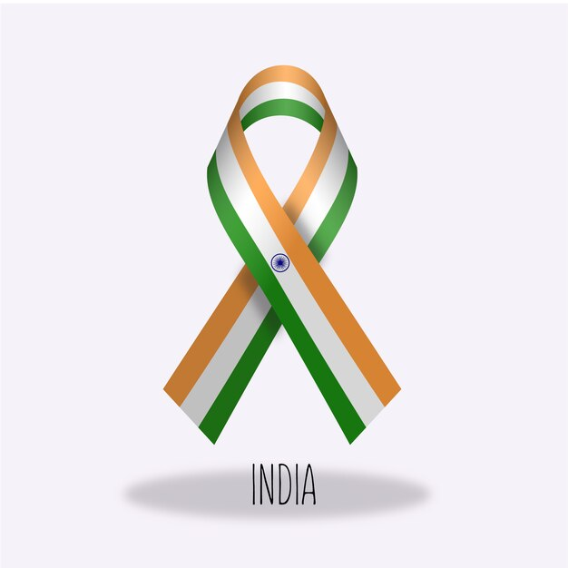 India flag ribbon design Vector Free Download