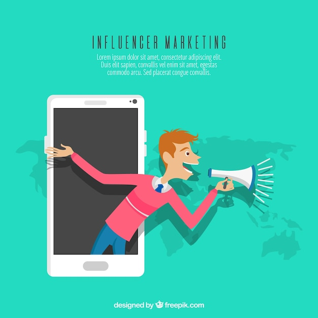Influence marketing concept with man in smartphone Vector Free