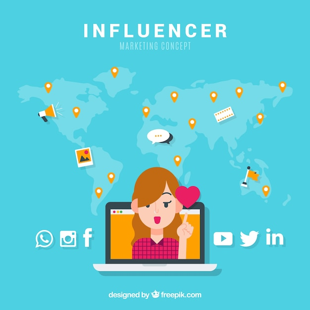 Influencer marketing concept with girl and heart Vector Free Download