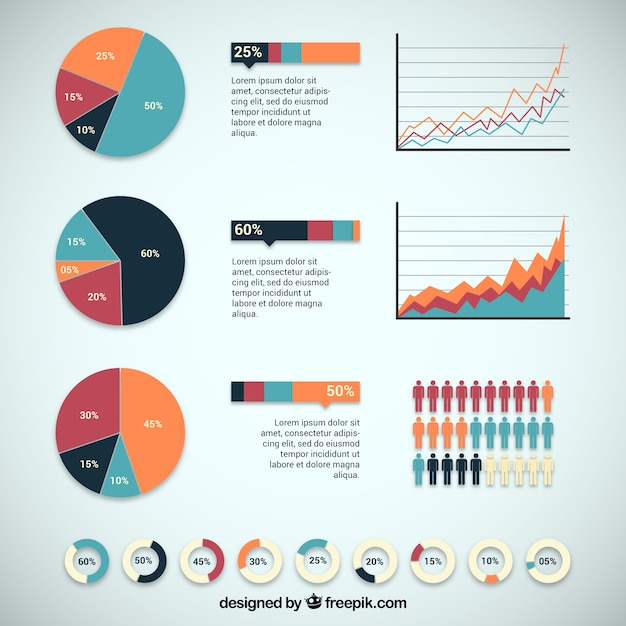 Infographic design with charts Vector Free Download