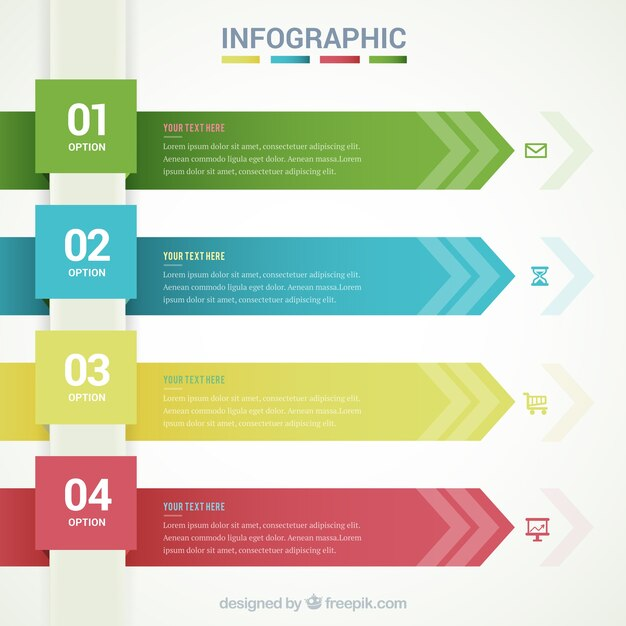 Infographic template with arrow banners Vector Free Download - template