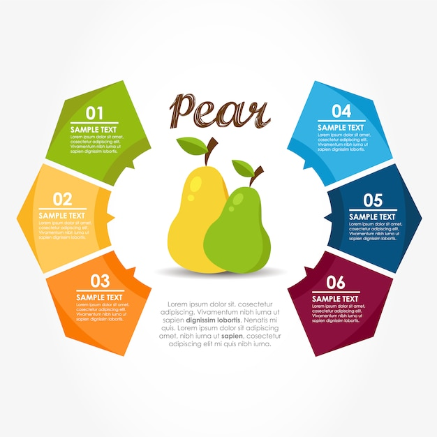 Infographic template with pears Vector Free Download