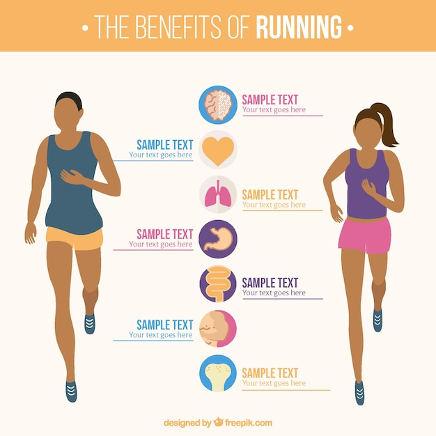 Infographic template of woman and man running Vector Free Download