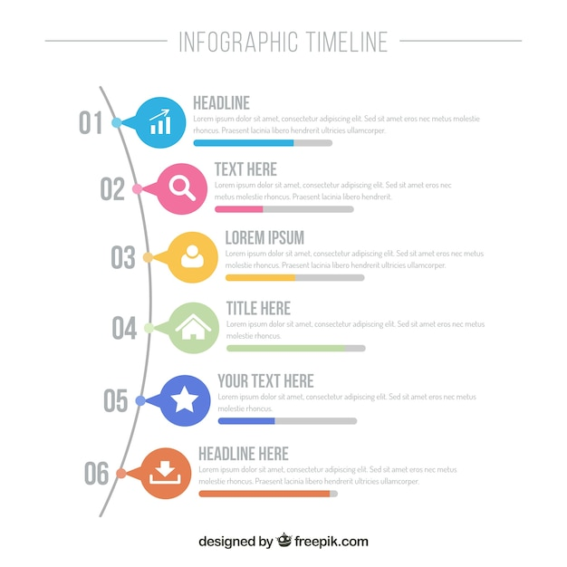 Infographic timeline with colorful icons Vector Free Download