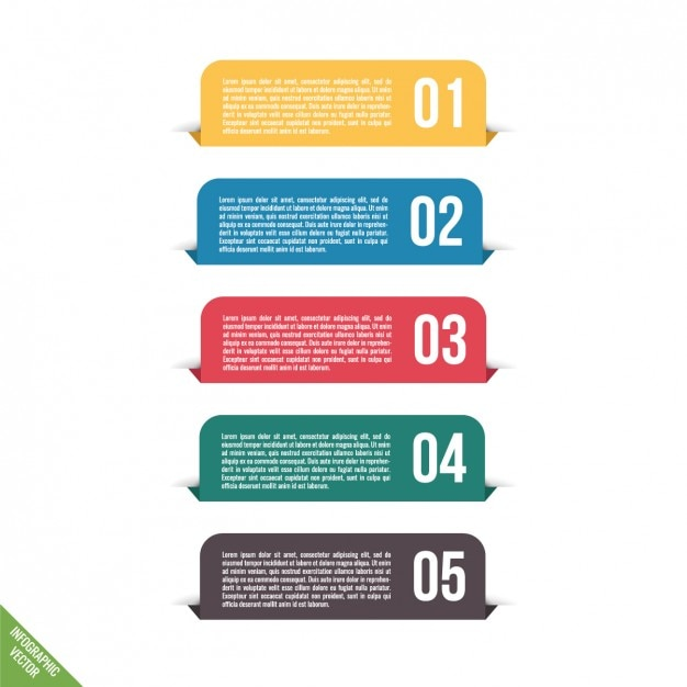 Infographic with five full color tabs Vector Free Download