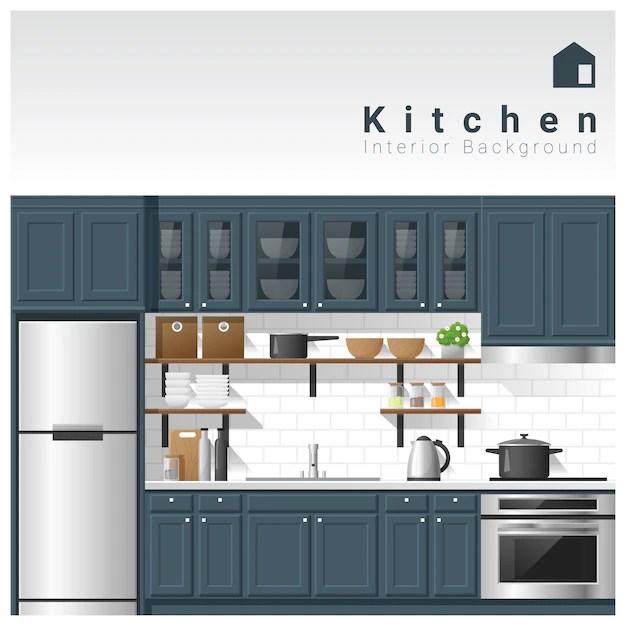 Interior design Modern kitchen background Vector Premium Download
