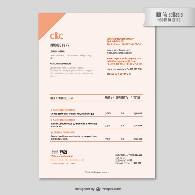 Invoice template Vector Free Download