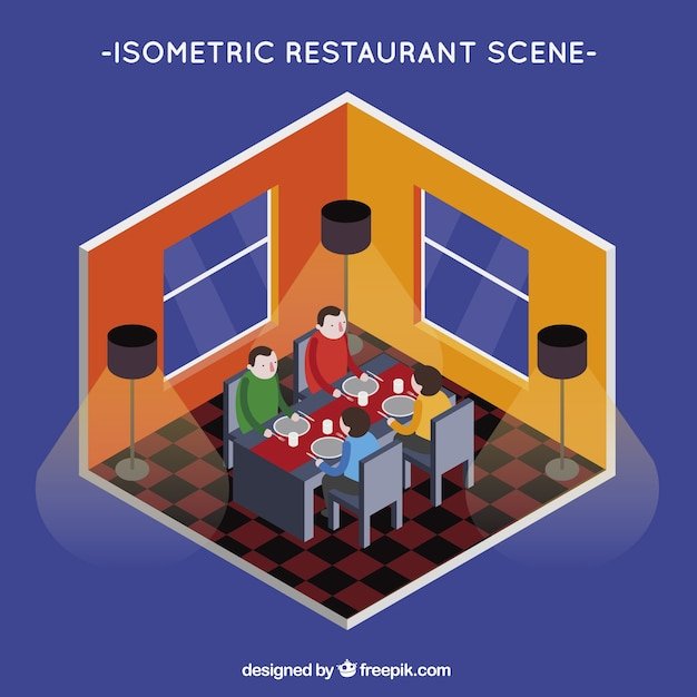 Isometric view, people dining in a restaurant Vector Free Download - isometric view