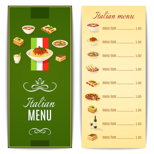 Italian Food Menu Vector Free Download - italian menu