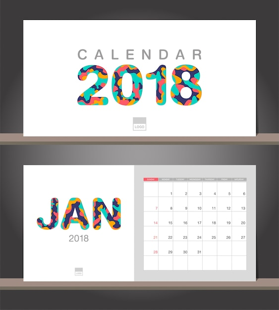 January 2018 calendar desk calendar modern design template with