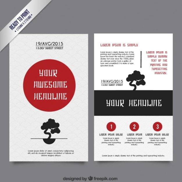 Japanese brochure template Vector Free Download - membership brochure template