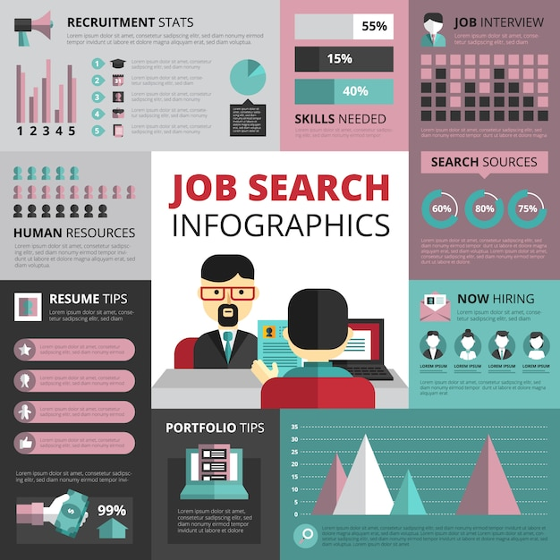 Jobs search strategy with resume and portfolio tips Vector Free