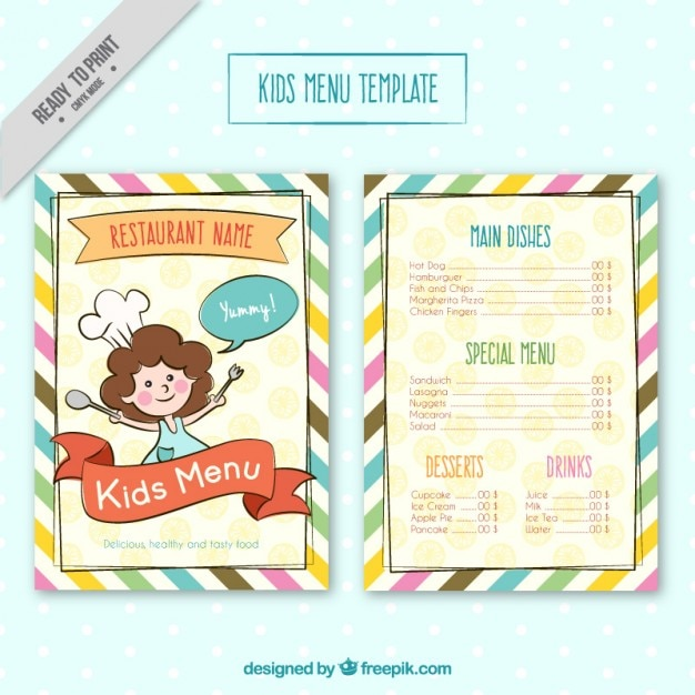 Kids menu template with colores stripes Vector Free Download