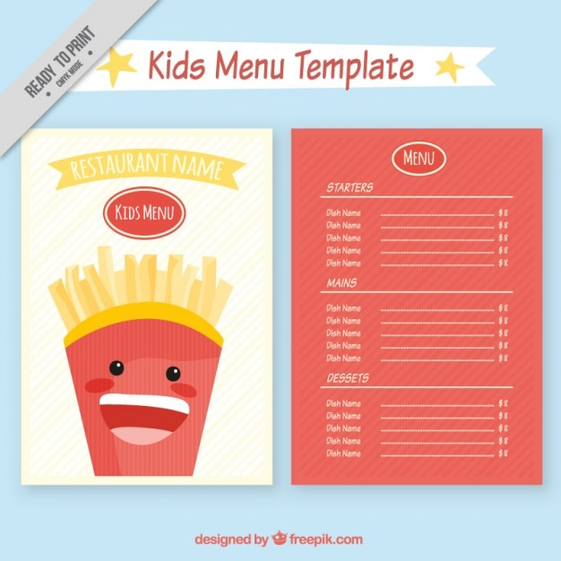 Kids restaurant menu template Vector Free Download