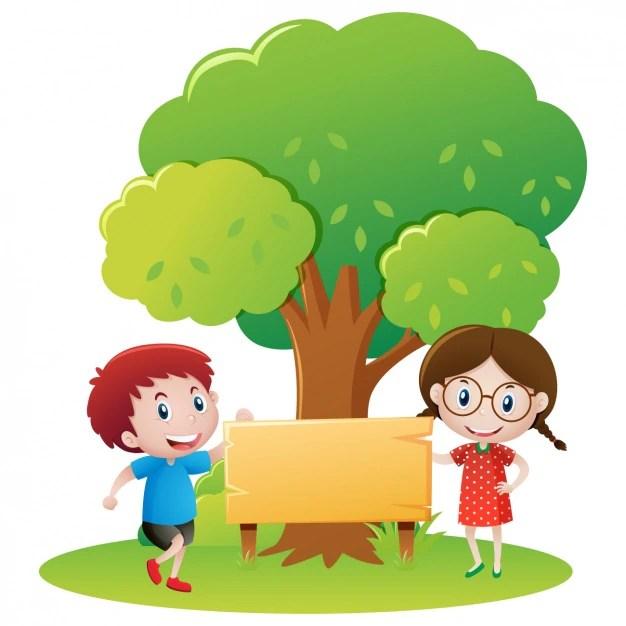 Kids under a tree design Vector Free Download