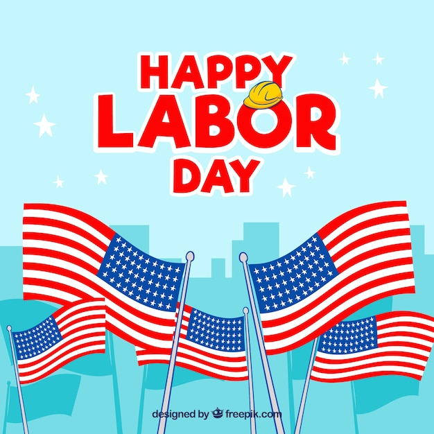 Labor day background with american flags Vector Free Download