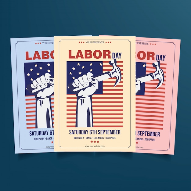 Labor day flyer template vector Vector Premium Download
