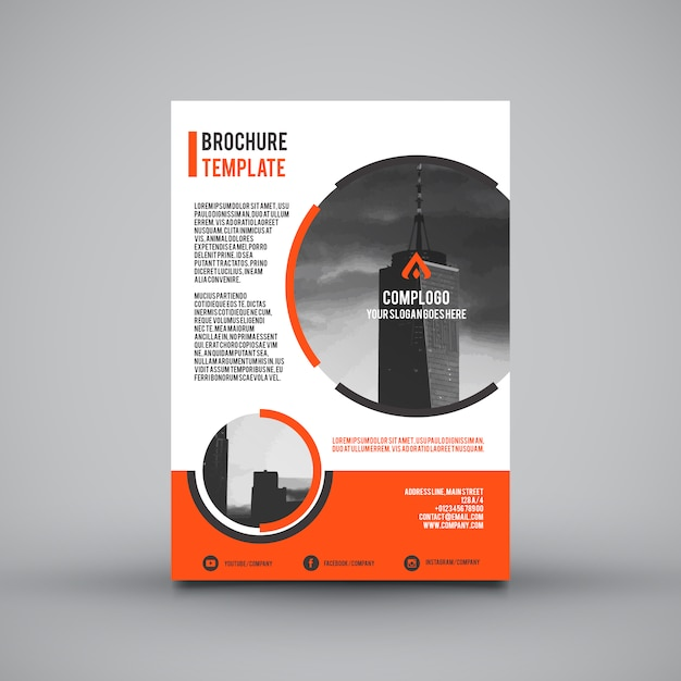 Leaflet template with orange sections Vector Free Download - leaflet template