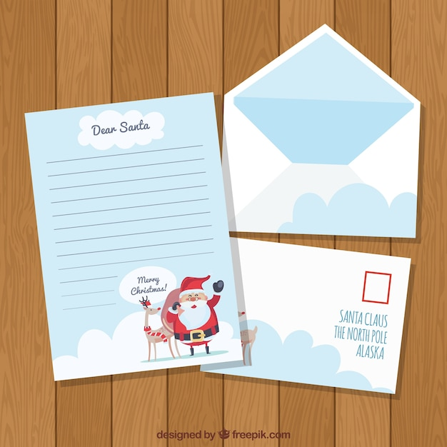 Letter and envelopes with santa claus Vector Free Download
