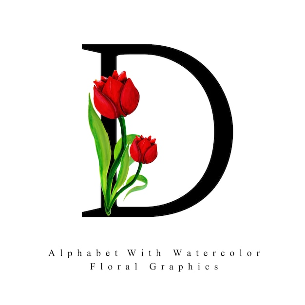 Letter D Watercolor Floral Background Vector Free Download