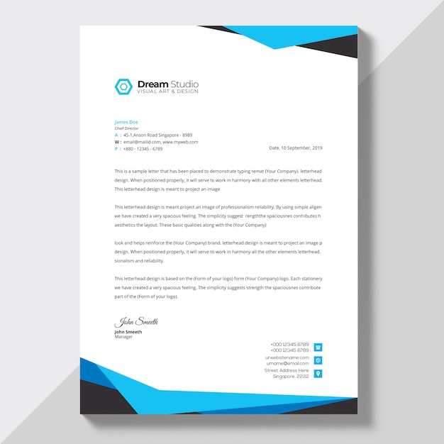 Letterhead template in flat style Vector Free Download