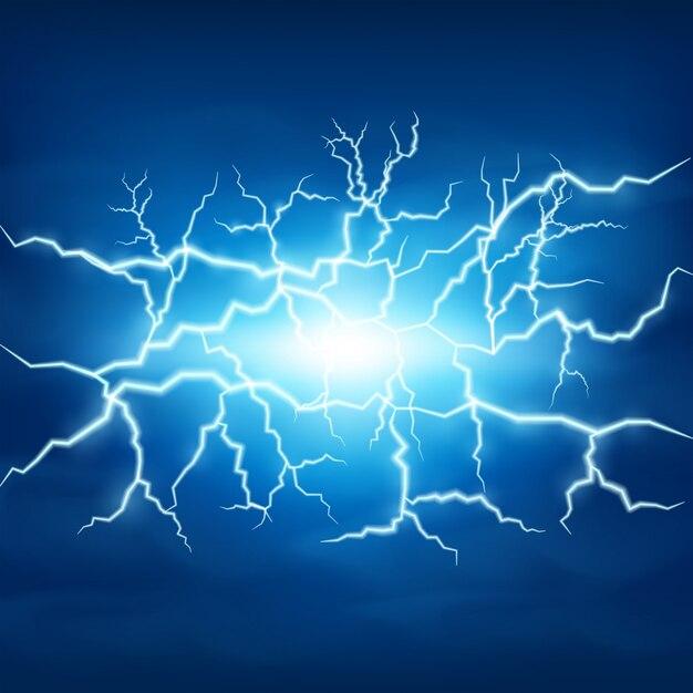 Lightning storm in blue sky Vector Premium Download