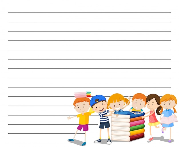 Line paper template with kids reading book background Vector Free