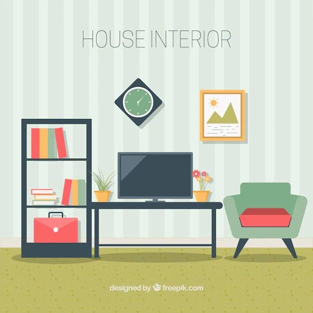 Living room furniture in flat design Vector Free Download - free living room furniture