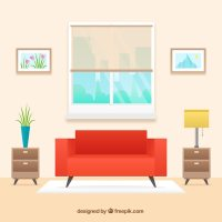 Living-room interior with red sofa in flat design Vector ...