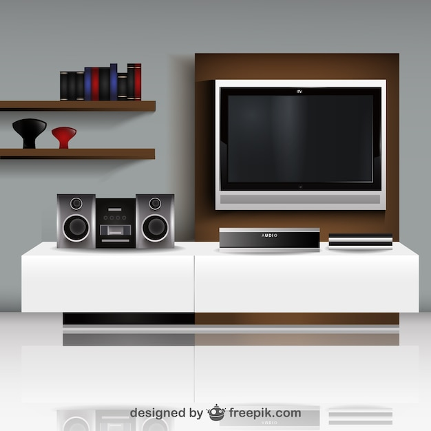 Living room with TV illustration vector Vector Free Download - tv in living room