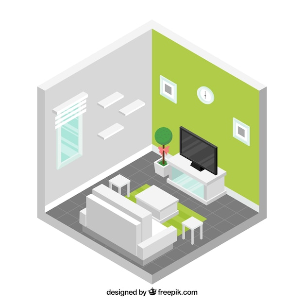 Living room with white furniture in isometric design Vector Free - free living room furniture