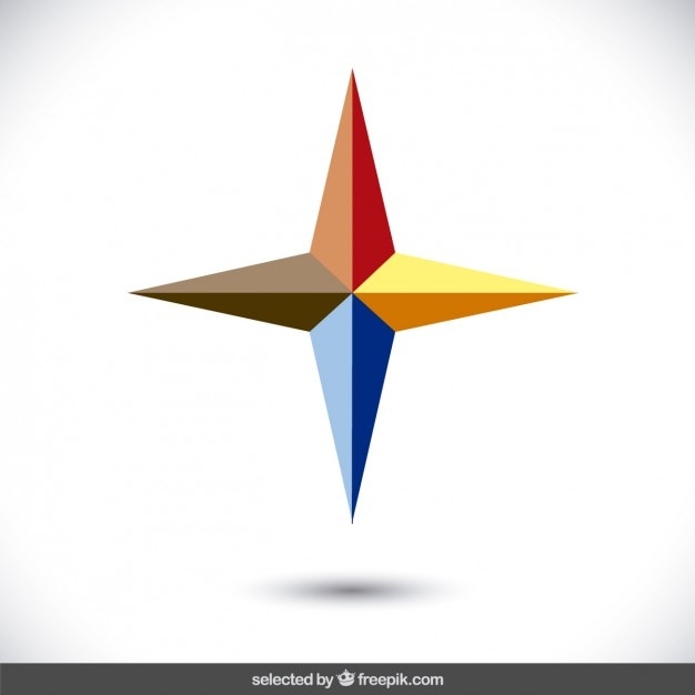 Logo with 3d star form Vector Free Download