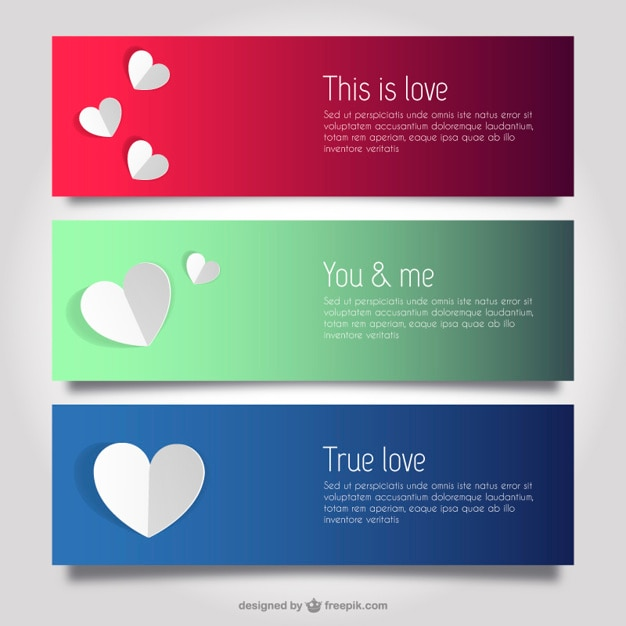 Love and hearts banner templates Vector Free Download - love templates free