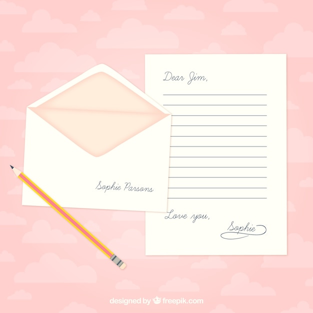 Love letter template Vector Free Download