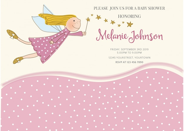 Lovely baby shower card template Vector Free Download