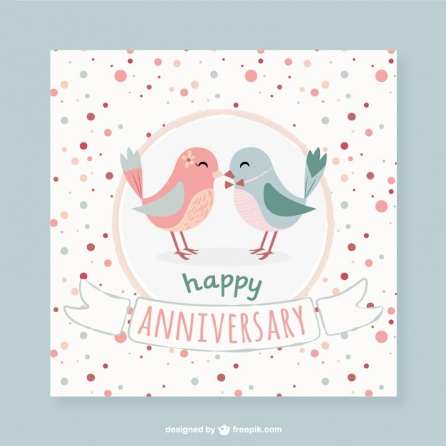 Lovely birds dotted anniversary card Vector Free Download