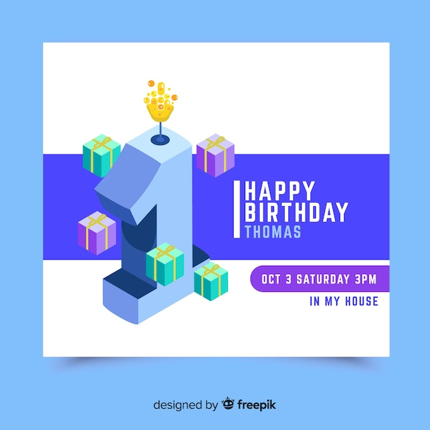 Lovely first birthday invitation card template Vector Free Download