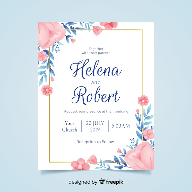 Lovely floral wedding invitation with golden frame Vector Free