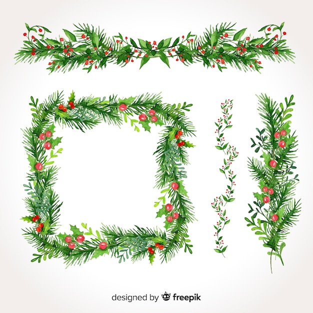 Lovely set of christmas borders and frames Vector Free Download