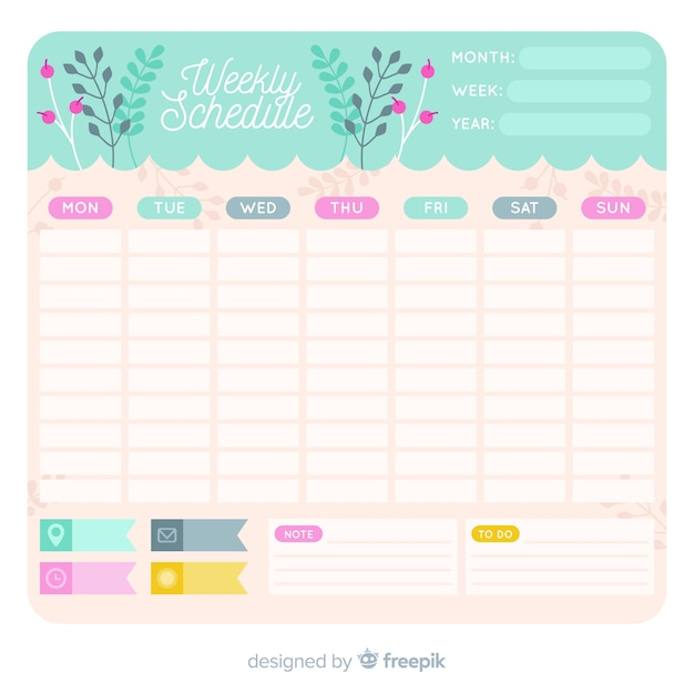 Lovely weekly schedule template with floral style Vector Free Download