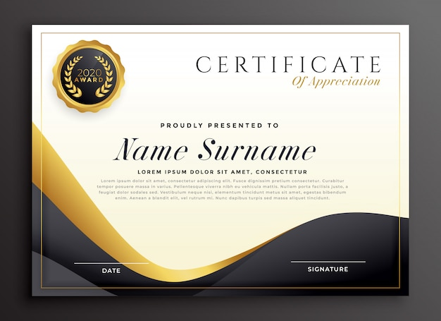 Luxury certificate of appreciation template Vector Free Download