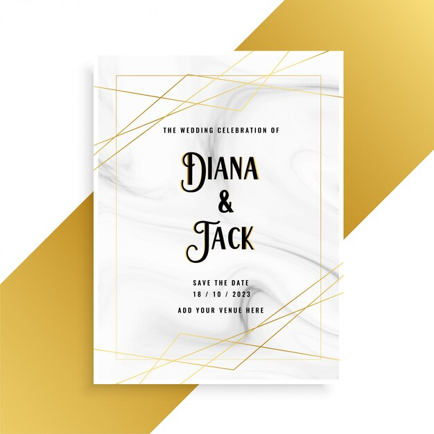 Luxury wedding invitation card design with marble texture Vector