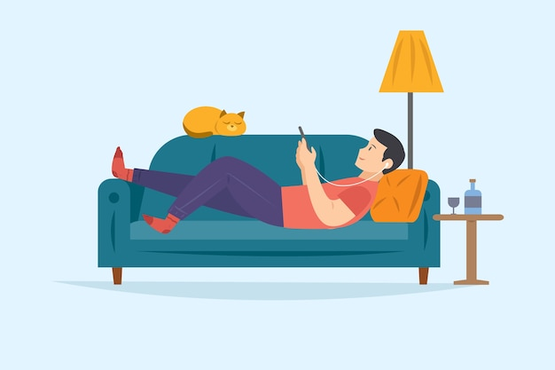 Man On The Sofa Relaxing While Listening To Music On Smartphone Vector Free Download - Disegno Uomo Divano