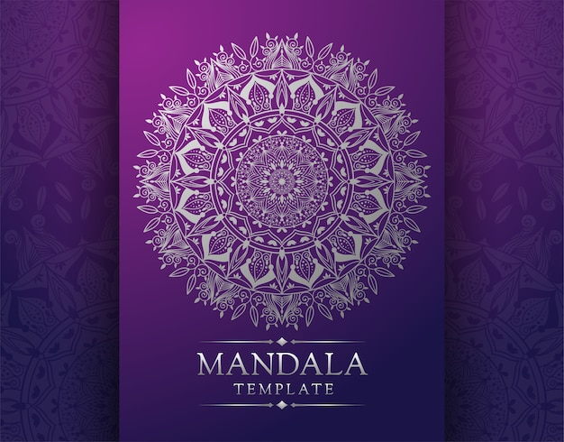 Mandala template pattern on violet fancy background for card Vector