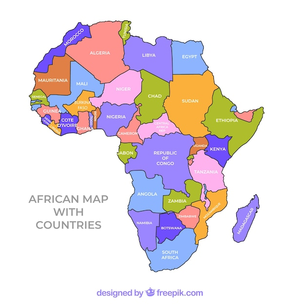 Map of africa continent with different colors Vector Free Download